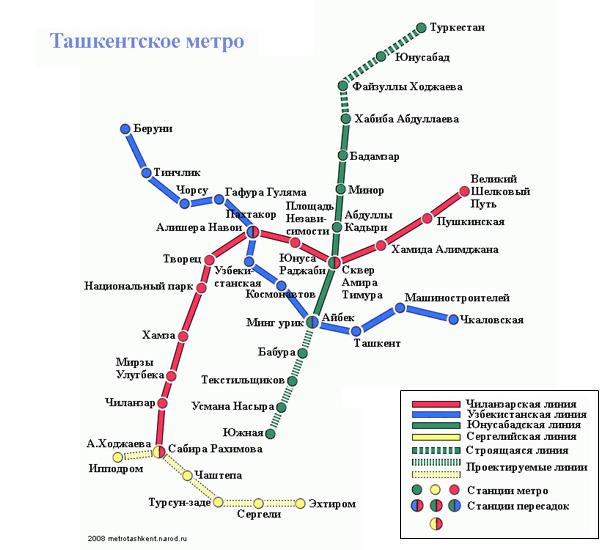 Схема метро Ташкента. Автор: